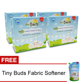 Harga Tiny Buds Natural Baby Laundry Powder Set of 4 with Free Natural Baby Fabric Softener 500ml
