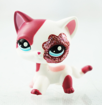Harga 2'' Pink White Sparkle Glitter Short Hair Cat Littlest Pet Shop LPS 2291 Animals - Intl