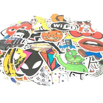 Harga misodiko 100pcs Random Patterns 6-12cm Waterproof Decal Stickers for Computer Car Motorbike and More - intl.