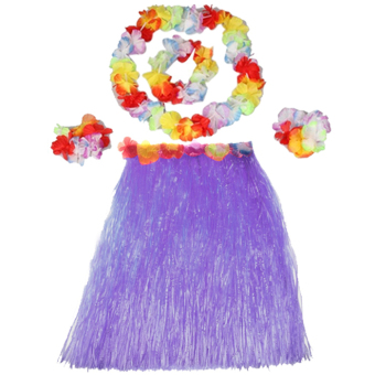 Harga Hot Dazzling Hawaiian Luau Party Decorations Costumes Set with 40CM Length Skirt + Headwear Headband + Lei Garland + Wristbands Purple