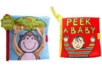 Harga Jolly Baby Set of 2 Soft Cloth Books (Monkey Book/ Peek-A-Baby)