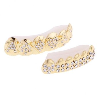 Harga MagiDeal Luxury Gold Tone Rhinestone Hip Hop Teeth Grillz Top Bottom Teeth Grills - intl
