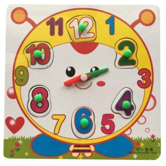 Harga Smiley Wooden Clock Toy