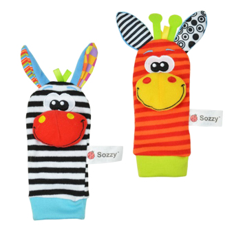 Harga LT365 One Pair Lovely Infant Baby Kids Animal Bells Foot Sock Rattles Soft Toys