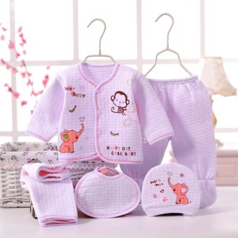 Cute Round Collar Cartoon Pattern Cotton Clothing Set for Newborn Babies - intl Price Philippines