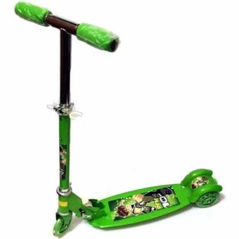 Harga Ride-On Push Scooter for Kids with Laser Wheel Ben 10 (Green)