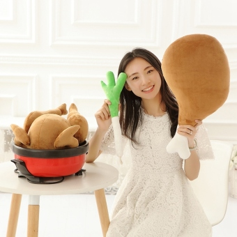 Harga Simulation Fried Chicken & Green Onion & Drumstick Plush Toys Soft Staffed Chicken Pillow Cushion Creative Gift - intl