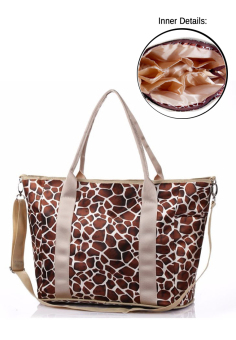 Multifunctional Mommy Baby Diaper Changing Waterproof Organizer Tote Shoulder Storage Bag(Giraffe Print Brown) Price Philippines