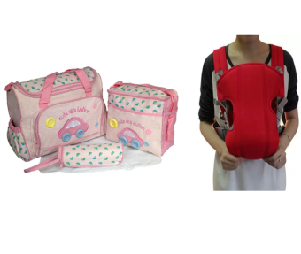 Cartoon Car Mommy Bag TMN- 002 4-in-1 Multi-function Baby Diaper Tote Handbag Set (Pink) With Adjustable Straps Baby Carriers (Red) Price Philippines