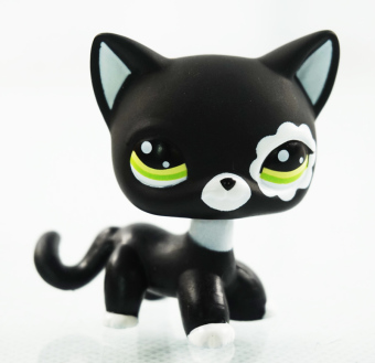 Harga 2'' Rare Black Cat Green Eyes Flower Patch Kids Toys Animals Littlest Pet Shop LPS #2249 Girl toys Kitty - Intl