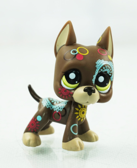 Harga 2.3'' Brown Dane Dog Puppy Tattoo Puppy Kids Toys Girl toys Littlest Pet Shop LPS 1439 Green Eyes - Intl
