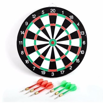 "Double Sided Dart Game Thick Target Board with 6 Darts Home Office Outdoor Sports Supplies 12"" Price Philippines"