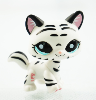 Harga 2'' Black & White Striped Cat Girl toys Blue Eyes Littlest Pet Shop LPS 1498 Kids Toys Kitty Animals - Intl