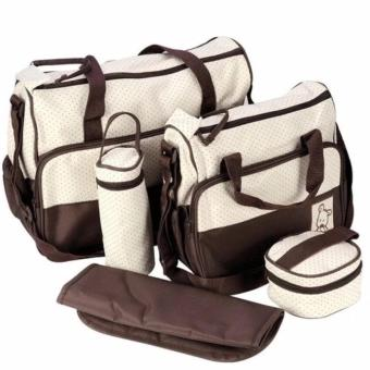 New Mommy Travel Tote Diaper Bag Polka Dot Diaper Bags Multifunction Diaper Organizer Set: Diaper Bag / Changing Pad / Wipe Container 5 in 1 (Coffee) Price Philippines