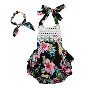 2pcs Baby Girl Floral Printed Ruffles Halter Jumpsuit + Headband (Black) - intl Price Philippines