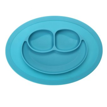 Harga Fashion Silicone Food Plate for Baby(Light blue) - intl