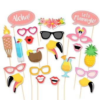 Harga 20pcs Summer Party Photo Booth Props Kit Photobooth Prop Card Funny Eyeglasses Pineapple Drinks Flower Band for Holiday Wedding Beach Birthday Party - intl