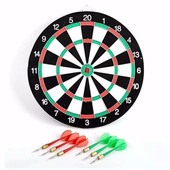 "Double Sided Dart Game Thick Target Board with 6 Darts Home Office Outdoor Sports Supplies 17"" Price Philippines"