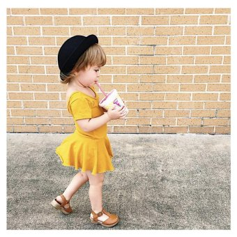 Harga Summer Baby Girl Dress New Dresses For Girls Baby Clothes (Yellow) - intl