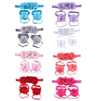 Harga Baby Girl Chiffon Rhinestone Foot Flower Barefoot Sandals Headband Set- Intl