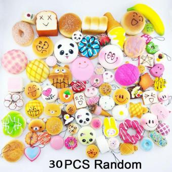 Harga Random 30pcs Jumbo Medium Mini Soft Squishy Cake/Panda/Bread/Buns Phone Straps - intl