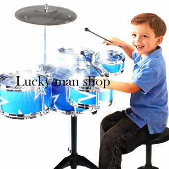 Harga USA TOP ONE LAZADA BEST Jazz Drum+Chair Kids Early Education Toy Percussion Instrument Gift Blue