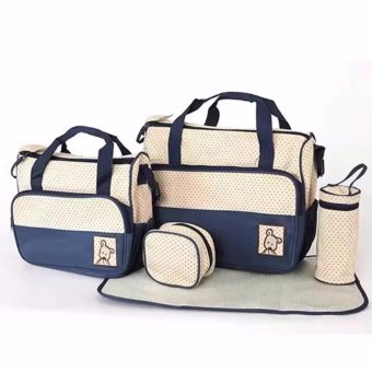 New Mommy Travel Tote Diaper Bag Polka Dot Diaper Bags Multifunction Diaper Organizer Set: Diaper Bag / Changing Pad / Wipe Container 5 in 1 (NAvy Blue) Price Philippines
