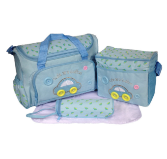 Cartoon Car Mommy Bag TMN- 002 4-in-1 Multi-function Baby Diaper Tote Handbag Set (Sky Blue) Price Philippines