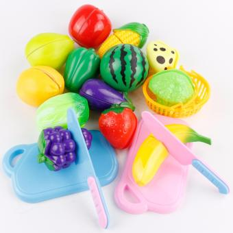 Harga 18PCS Plastic Cutting Fruits and Vegetables Set Play Food Set for Pretend Play Kids Toy - intl