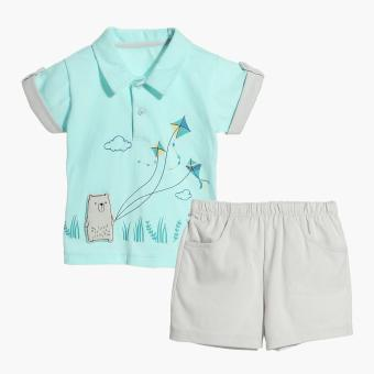 Harga Hush Hush Boys Bear Flying Kite Polo Shirt and Shorts Set (Turquoise)