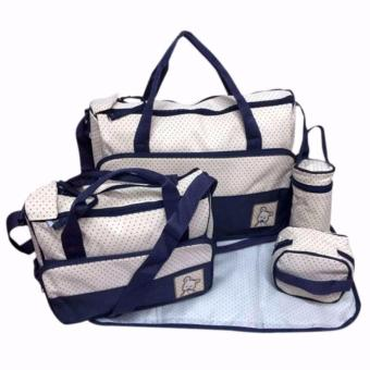 New Mommy Travel Tote Diaper Bag Polka Dot Diaper Bags Multifunction Diaper Organizer Set: Diaper Bag / Changing Pad / Wipe Container 5 in 1 Price Philippines