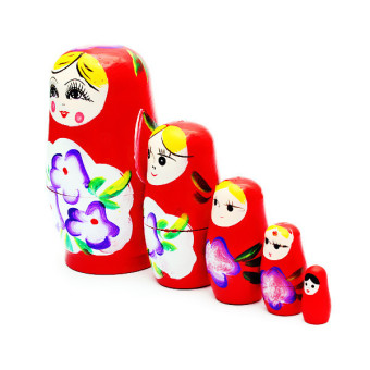 1 Set 5pcs Matryoshka Russian Nesting Dolls Toy Wooden Doll Girl Children's Toy Red - Intl Price Philippines