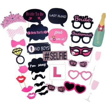 Harga 30pcs Photo Booth Props Kit Photobooth Prop Card Funny Eyeglasses Mustache Bowknot for Hen Bachelor Party Holiday Wedding Birthday Party - intl
