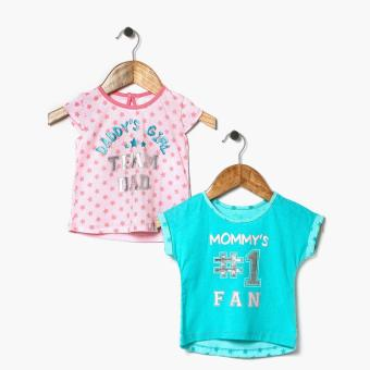 Harga jusTees Baby Girls Mommy's Number 1 Fan And Daddy's Girl Statement Tee Set (12M)