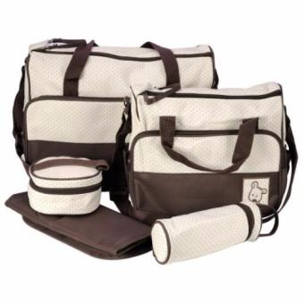 5 in 1 Mommy Travel Tote Polka Dot Diaper Bags Multifunction Diaper Organizer Set (Brown) Price Philippines