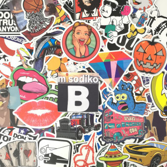 Harga misodiko 100Pieces 6-12cm Waterproof Decal Stickers for Notebook, Travel Case, Scrapboking and More (Type-B) - intl.