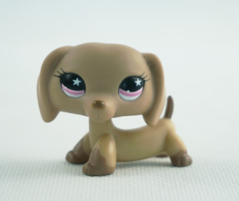 Harga Littlest Pet Shop LPS #932 Girl toys Toys Animals Dachshund Brown Dog Puppy Pink Star Eyes - Intl