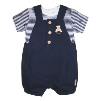Kid Basix Navy Shortall with KB Bear Embro & White Pullover with stripes & Navy Sailboats Print Set (Navy) Price Philippines