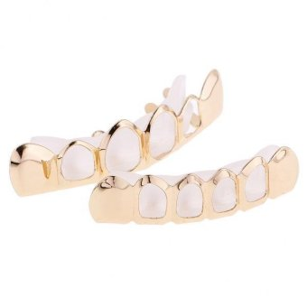 Harga MagiDeal Hip-Hop 18K Gold Plated Mouth Caps HollowTeeth Grills Top&Bottom Grillz Set - intl