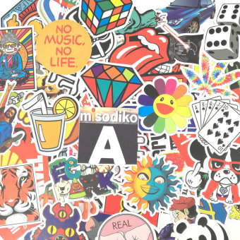 Harga misodiko 100Pieces 6-12cm Waterproof Decal Stickers for Notebook, Travel Case, Scrapboking and More (Type-A) - intl.