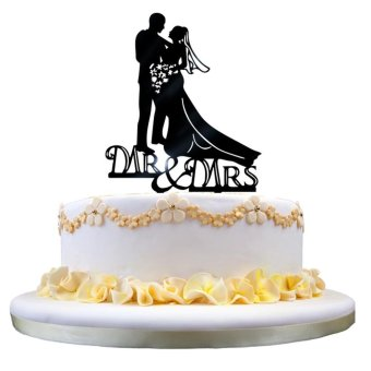 Harga New Wedding Cake Topper Insert Card Love Groom And Bride Acrylic Cake Decoration - intl