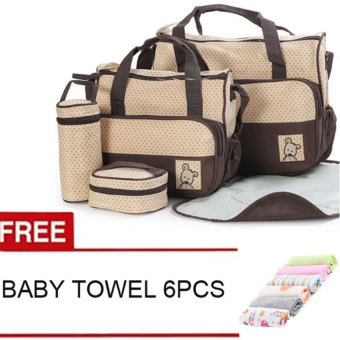 New Mommy Travel Tote Diaper Bag Polka Dot Diaper Bags Multifunction Diaper Organizer Set: Diaper Bag / Changing Pad / Wipe Container 5 in 1 (Coffee) With Free Towel 6pcs Price Philippines