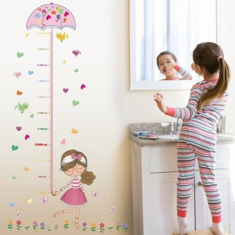 Harga Kids Growth Chart Height Measure Removeable Wall Sticker For DIY Kid's Room Children Kids Baby Home Room School Nursery Decoration - Girl Hold Pink Umbrella - intl