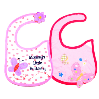 Harga BABY STEPS Pink Insect A Baby Feeding Bib Set of 2