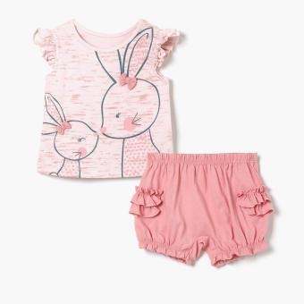 Harga Hush Hush Girls Sweet Bunnies Top and Shorts Set (Pink)