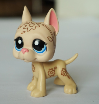 Harga Beige & Tan Great Dane Dog Blue Eyes Deco Flowers Littlest Pet Shop LPS Animals Girl toys - Intl