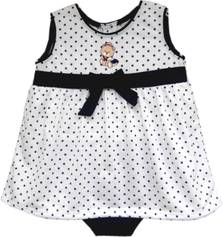 Kid Basix White Top w/Navy Dots & Sailor Bear Embro & Navy Panty Set (Navy) Price Philippines
