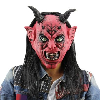 Harga Horror Funny Satan Devil Latex Mask With Wig Ox Horn For Masquerade Halloween Party Bar(Black) - intl