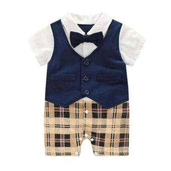 Baby Boy Newborn Clothing Bow Tie Gentleman Summer Short-Sleeve One-Piece Romper Jumper - intl Price Philippines