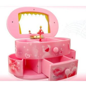 Harga Valentine's Day Gift Music Boxes Cosmetic Mirror Music Box of Fashionable Jewelry Boxes for Lover - intl